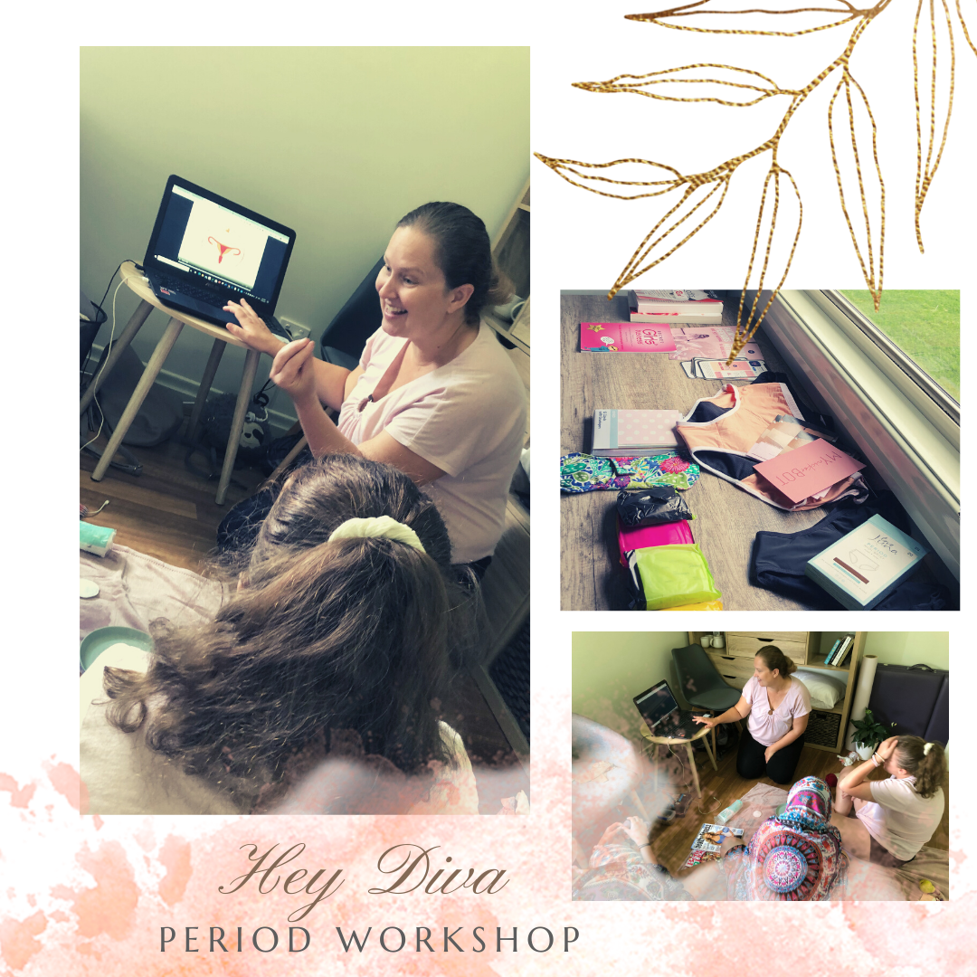 photo collage graphic about period workshop, with workshop photos